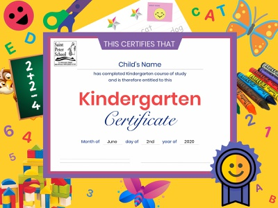 My Daughters Kindergarten Certification Coronavirus design art designs kindergarten illustration icon typography vector designforhire logo barskydesign designer school artist sketch certificate design certificate design