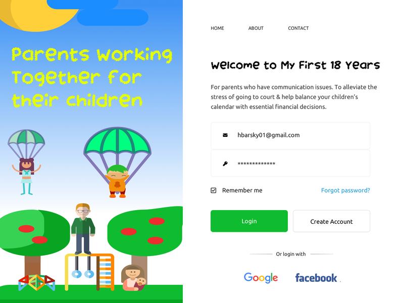 Co Parenting App Research & Design Journey signin landingpage ui designsystem designforhire ux appdesign designer design barskydesign app parent parents
