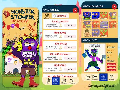 Monster Stomper Game Design Concept uxresearch appdesigner designsystem designforhire appdesign barskydesign uxui ui ux designer ideas gamedesign game design