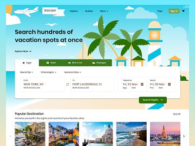 Travel App Vacation Landing Page Design Concept ui designsystem ux designforhire appdesign designer design barskydesign vacation traveling travelling travel