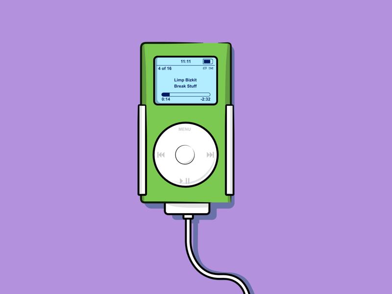 iPod Mini mp3 music illustration flat graphic design vector mini ipod