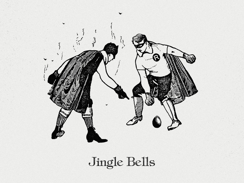 Jingle Bells batman holidays illustration jingle bells christmas robin smells eggs woodcut black white