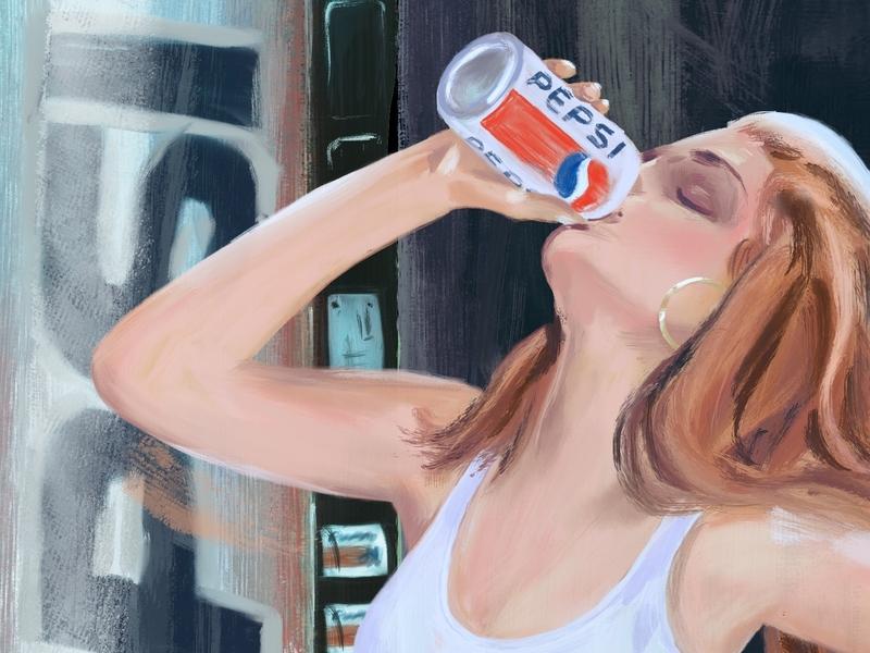 New look. Same great taste. cindy crawford drawing oil digital painting painting procreate ipad ipad pro pepsi illustration