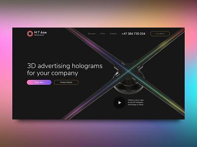 Landing page design for hologram projectors web designer webdesigner website design freelance web ux ui ui design uiux web design webdesign landing page design landing page landing