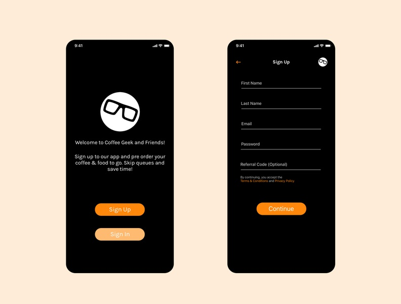 Coffee Geek App Sign Up Screens