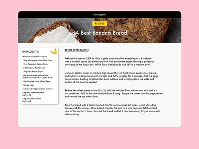 Bon Appetit Banana Bread Recipe Card minimal clean sketchapp sketch minimalist desktop bonappetit recipe bananabread banana uidesign ui