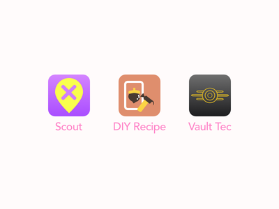 Daily UI 005 - App Icons dailyui005 sketchapp sketch fallout diy animalcrossing watchdogs2 scout logo simple iconset dailyui appicon app icons mobile uidesign design