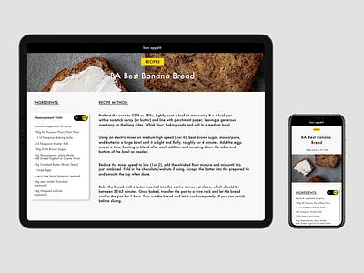 Responsive Recipe Design sketchapp sketch design simple minimal clean recipe tablet mobile responsivedesign responsive uidesign ui