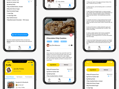 Profile Recipe Screens figmadesign figma clean uxdesign uxui ux userfriendly modern baking recipe simple mobile uidesign design ui