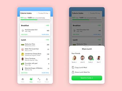 Daily UI 010 - Share Screen dailyui figmadesign tracking food calories health share mobile dailyui010 uidesign figma