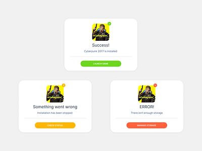 Daily UI 011 - Flash Messages cardui uxdesigns uxdesign modern minimal figmadesign figma cards status uidesign dailyui011 dailyui