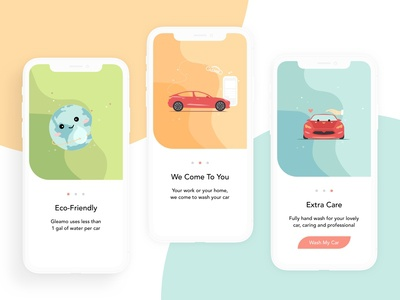 Gleamo- Mobile Carwash App Onboarding Pages