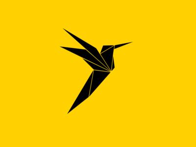 Colibri Artwork origami hummingbird violetear black and yellow colibri illustration art bird logo artwork