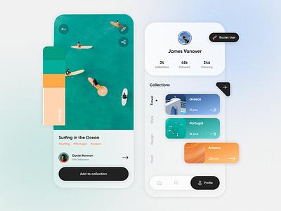 Mood board — Concept App palette colour palette travel user interface design concept app inspiration app design minimalistic collections mood board ux design ux ui