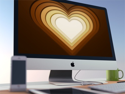 Heart heart background wallpaper graphicriver envato icon display mac monitor mockup mock-up brown