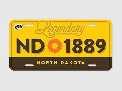 North Dakota License Plate sunset retro redesign dakota north nd plate license fargo bison badlands