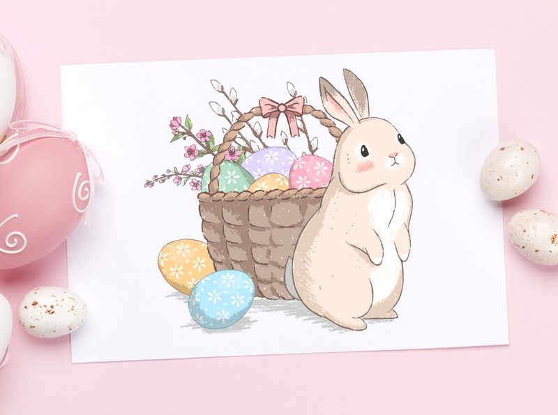Cute Easter bunnies illustrations set