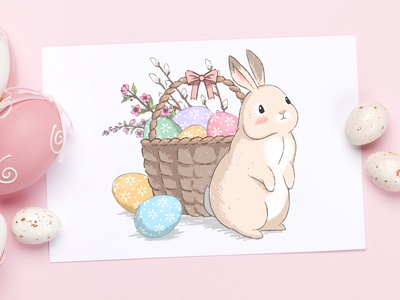 Cute Easter bunnies illustrations set hand drawn illustrations set greeting eggs bunnies easter design cute vector lettering art typography illustration