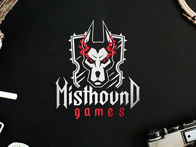 Misthound Games logo design logodesign graphicdesign identity videogame video games game studio hard agressive hound dog branding logo minimalistic fonts lettering flat typography illustration