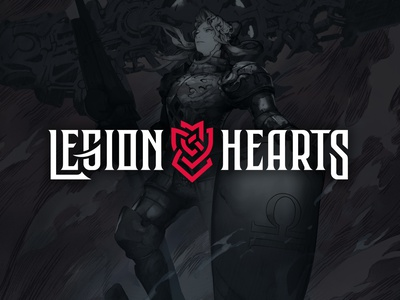 Legion Hearts Game logo design fonts branding ornament shield lettering logo nordic video game videogames minimalistic celtic celtic knot game logo games logodesign flat logo typography