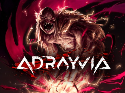 Adrayvia Game Logo Design typography logo monsters adventure rpg action blood video games logo design game logo branding lettering logo typography