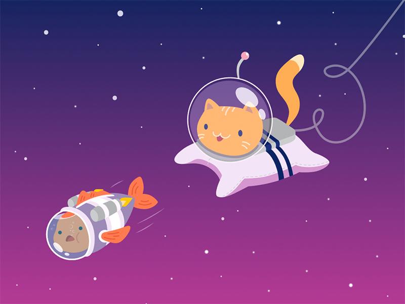 Cat & Fish on cosmoc illustration vector art minimalism cosmos illustration flat fish cat