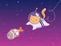 Cat & Fish on cosmoc illustration