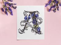 Victorian Floral Alphabet - A (Aconitum)