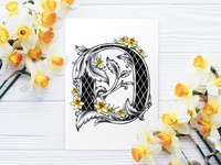 Victorian Floral Alphabet - D (Daffodil)