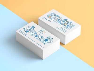 Get Servers business card design programing illustration blue yellow graphic  design business card web hosting technologies servers flat