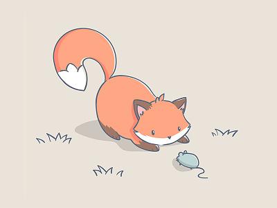 Cute foxie vector Illustration charater mouse fox minimalistic cartoon cute cute animal art illustration