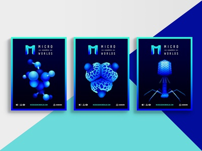 Posters for VR game contrast minimalistic cyan blue fluorescence poster microbiology microscopic cells bacteria molecules biology vr science flat illustration