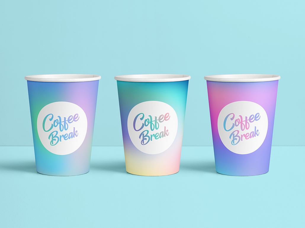 Holographic coffee cups rainbow colorful purple blue pastel smooth gradient holographic hologram cup coffee flat
