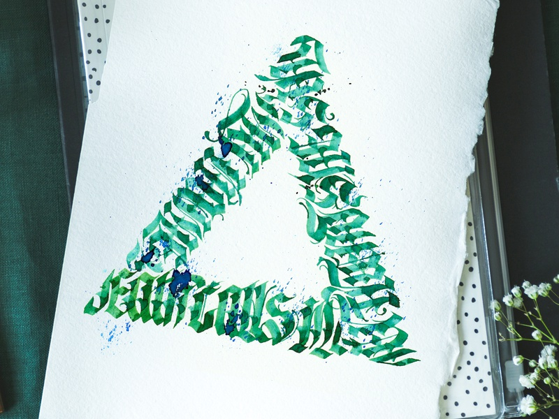 Blacklettering triangle green type type art handdrawn handdrawn type handletter ink art triangle triangles calligraphy design blacklettering calligraphy gothic lettering fonts art typography