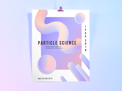 Science conference poster minimalistic monimalism smooth particles shapes flat purple pink poster science abstract hologram conference holographic