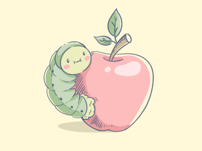 Cute caterpillar on the apple. Vector illustration.