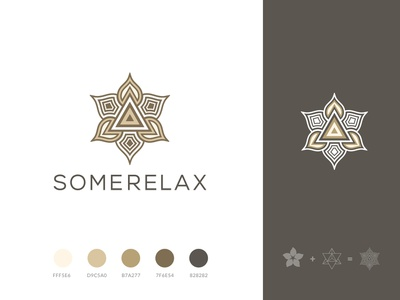 "Spa salon manicure ""Somerelax"" logo design minimalistic identity manicure salon gold flat triangles relax lotus spa flower merkaba design logo"