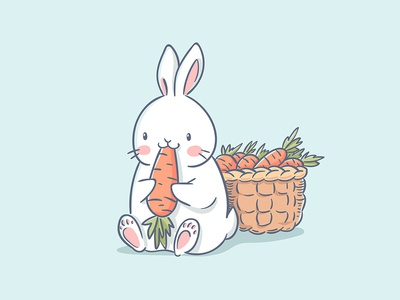 Cute rabbit eat a carrot. Vector illustration.