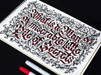 Blackletter sign in gothic style