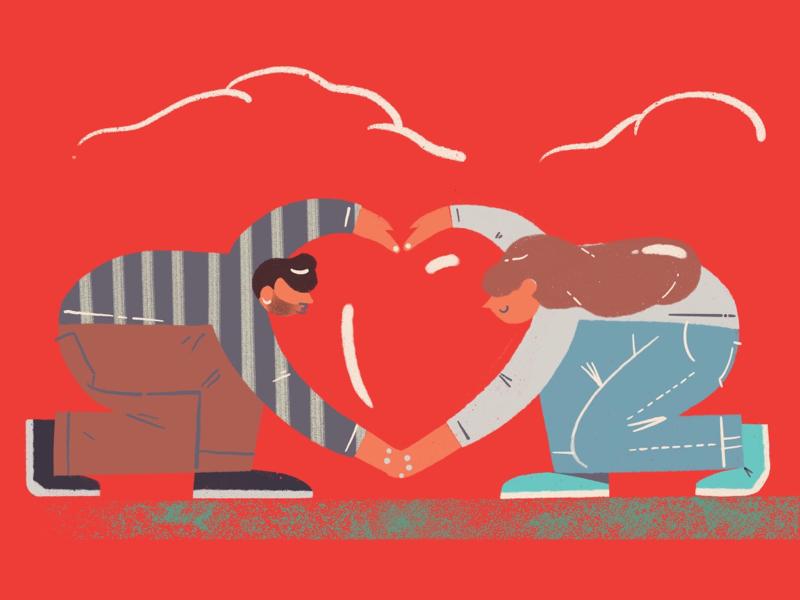 Happy Valentine's Day procreate heart women men cloud love illustration