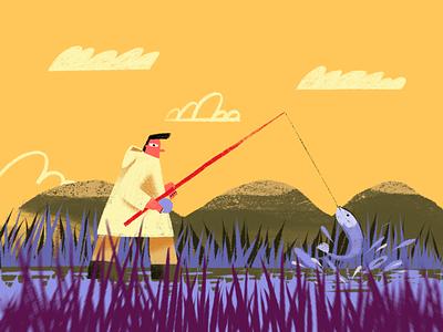 Fishing nature lake drawing procreate illustration fishing