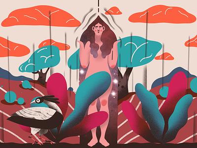 When the night comes ipad дизайн персонажа обои на стену рисунок порождать trees clouds night bird plants illustration women