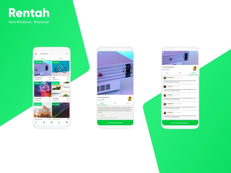 Rentah App Design concept redesign material design rental app rental rent ux app ux  ui ux design ui design product design design app design