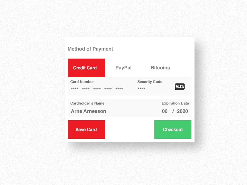 Credit card checkout - #2 Daily UI ui daily