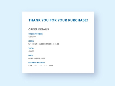 Email Reciept - Daily #17 ui daily email receipt