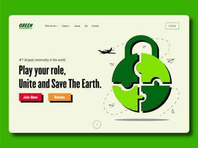 Landing Page - Green Community illustraion donate landing page earth website typeface typography minimalist geometry geometric app website design community website nature design green design flat 2d flat design uiux ux ui landing page design landing page