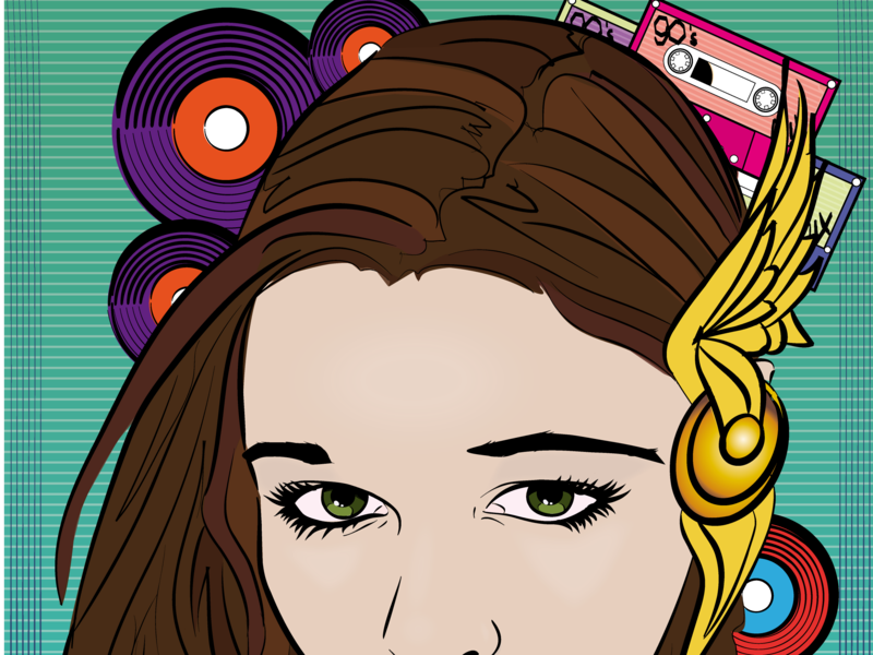 90's Chick Comic Face cassettes records comic music 90s just for fun illustration design