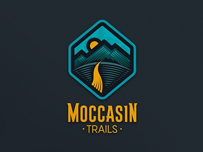 Moccasin Trails hatching trails moccasin wellbeing health mountains path hiking typography logo lettering illustration design branding