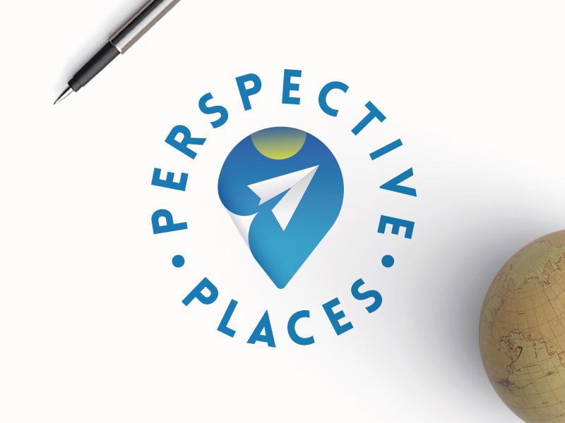 Perspective Places paper art logos explore adventure airplane paper airplane travel agency travel graphic design vector logotype logodesign lettering dailylogochallenge dailylogo typography logo illustration design branding