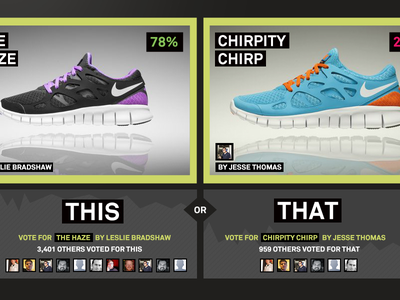 Voting App for a shoe company voting this or that shoe